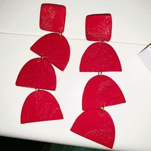 Handmade Red sparkly earrings dangle